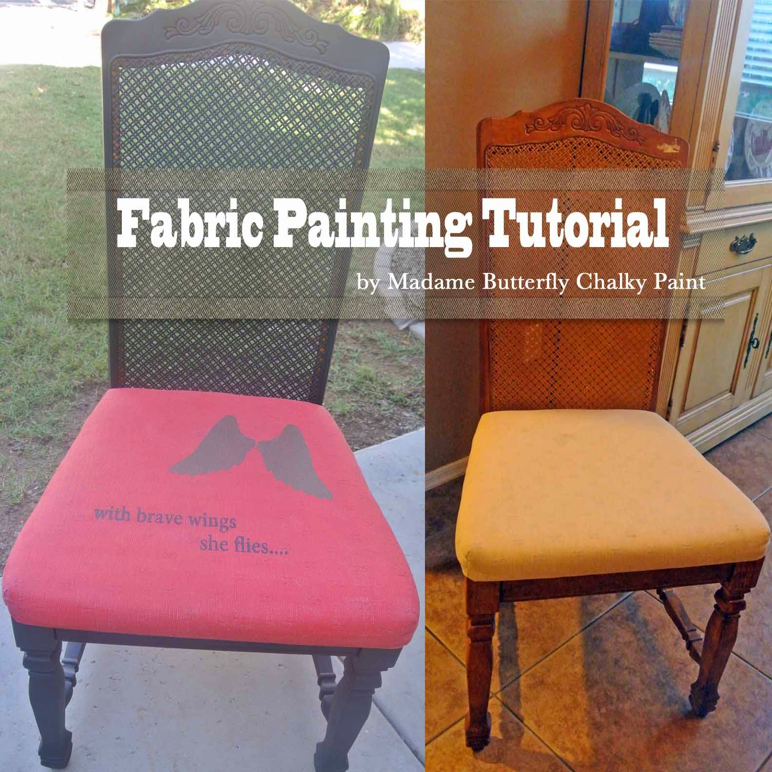yes you can paint upholstery fabric with madame butterfly chalky paint tutorial madame. Black Bedroom Furniture Sets. Home Design Ideas